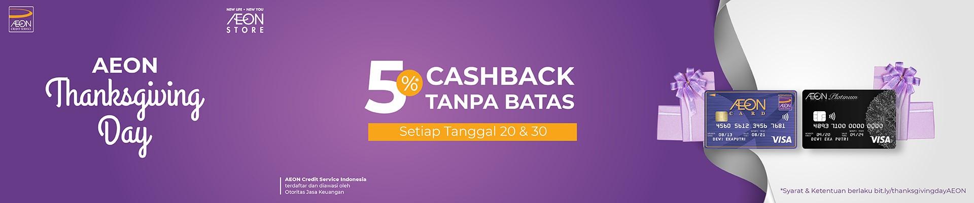 Cashback 5% & 2x Lipat Happy Point di AEON Thanksgiving Day