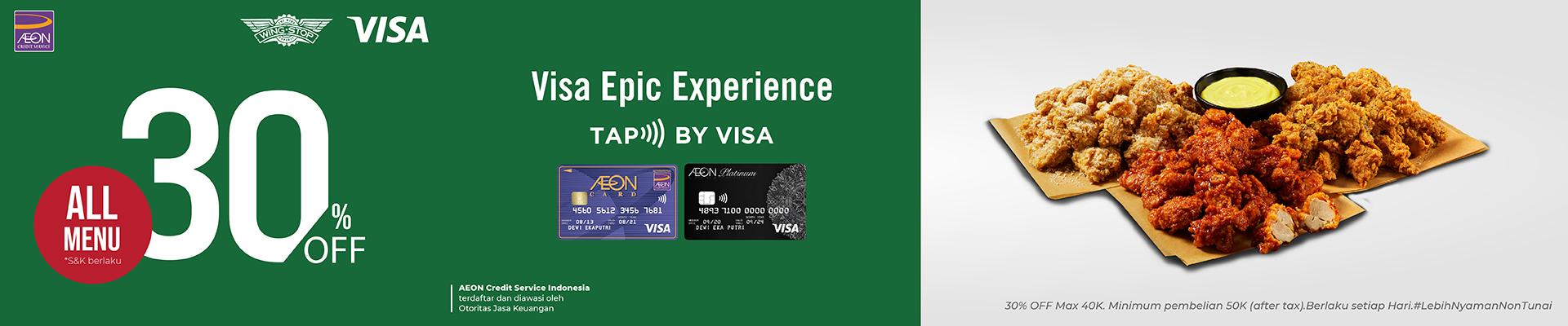 Dapatkan Potongan 30% untuk transaksi Kartu Kredit AEON Contactless di Wing Stop